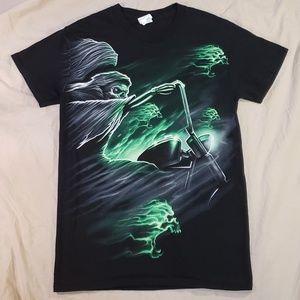 Reaper Skeleton Biker Motorcycle Green T-shirt